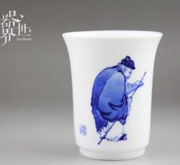 器世界原創精品手繪人物漁樵耕讀青花瓷茶具