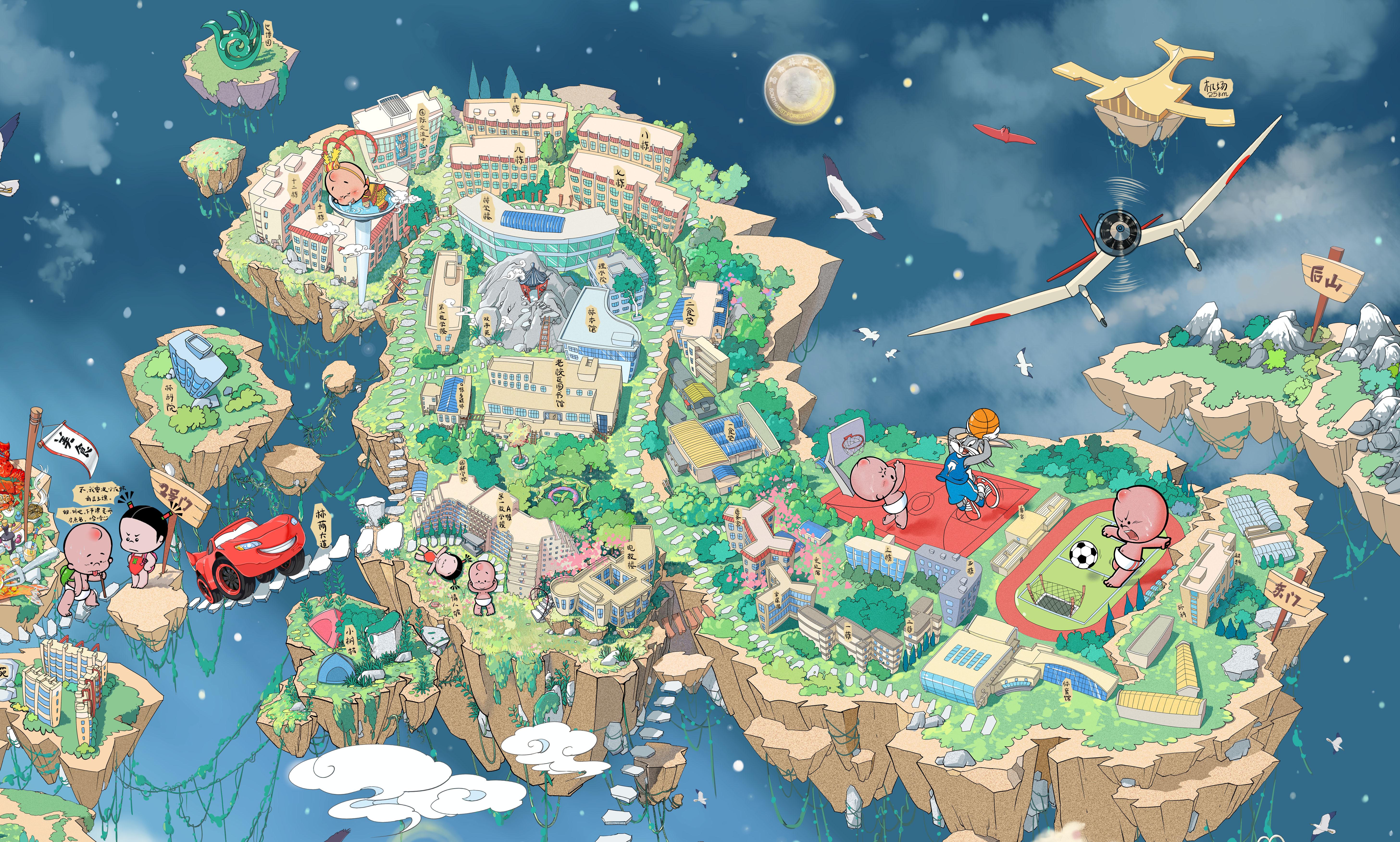 《浮岛西林》手绘地图