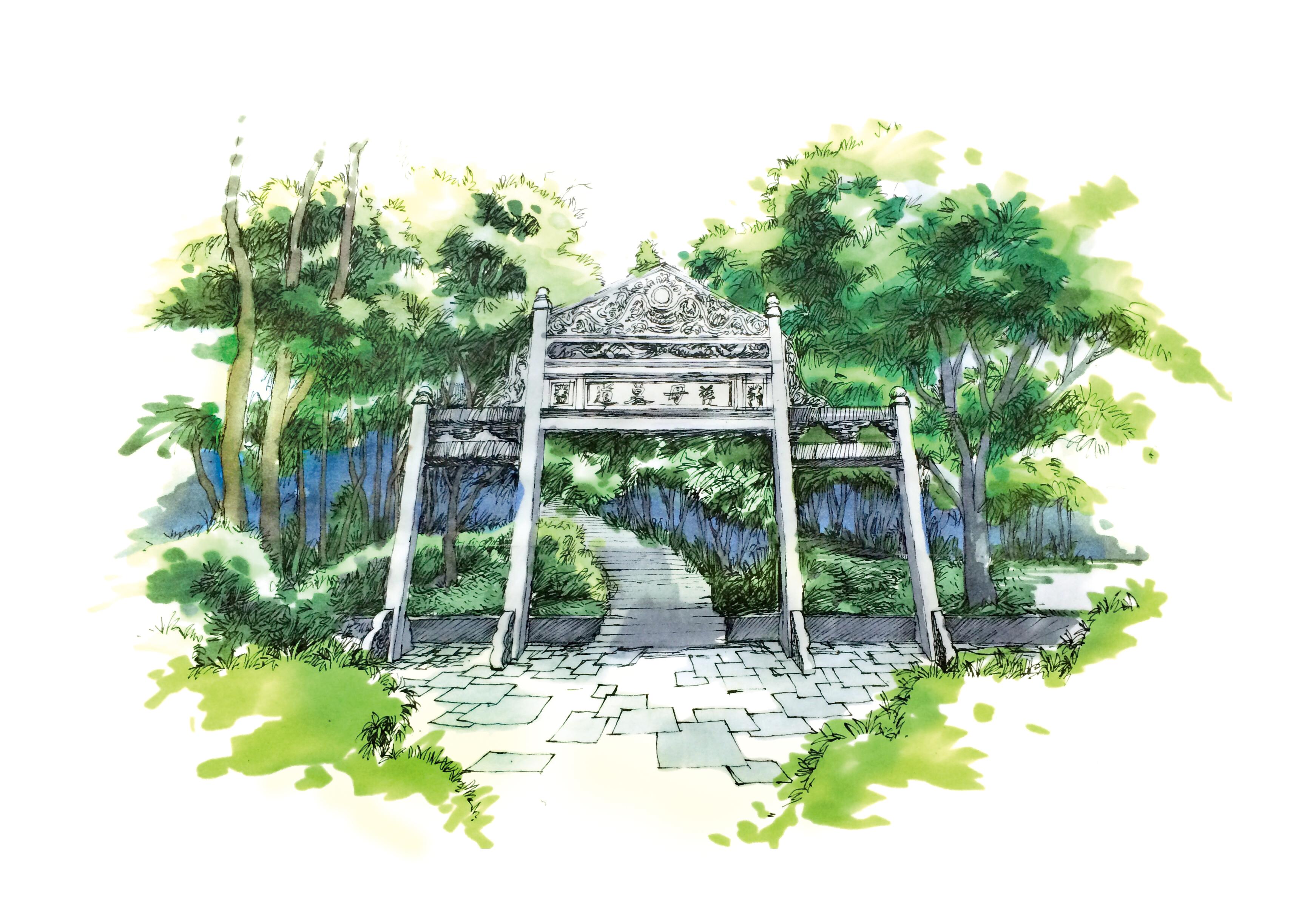 溪口风景插画-商业插画-插画-设计作品-中国设计之窗