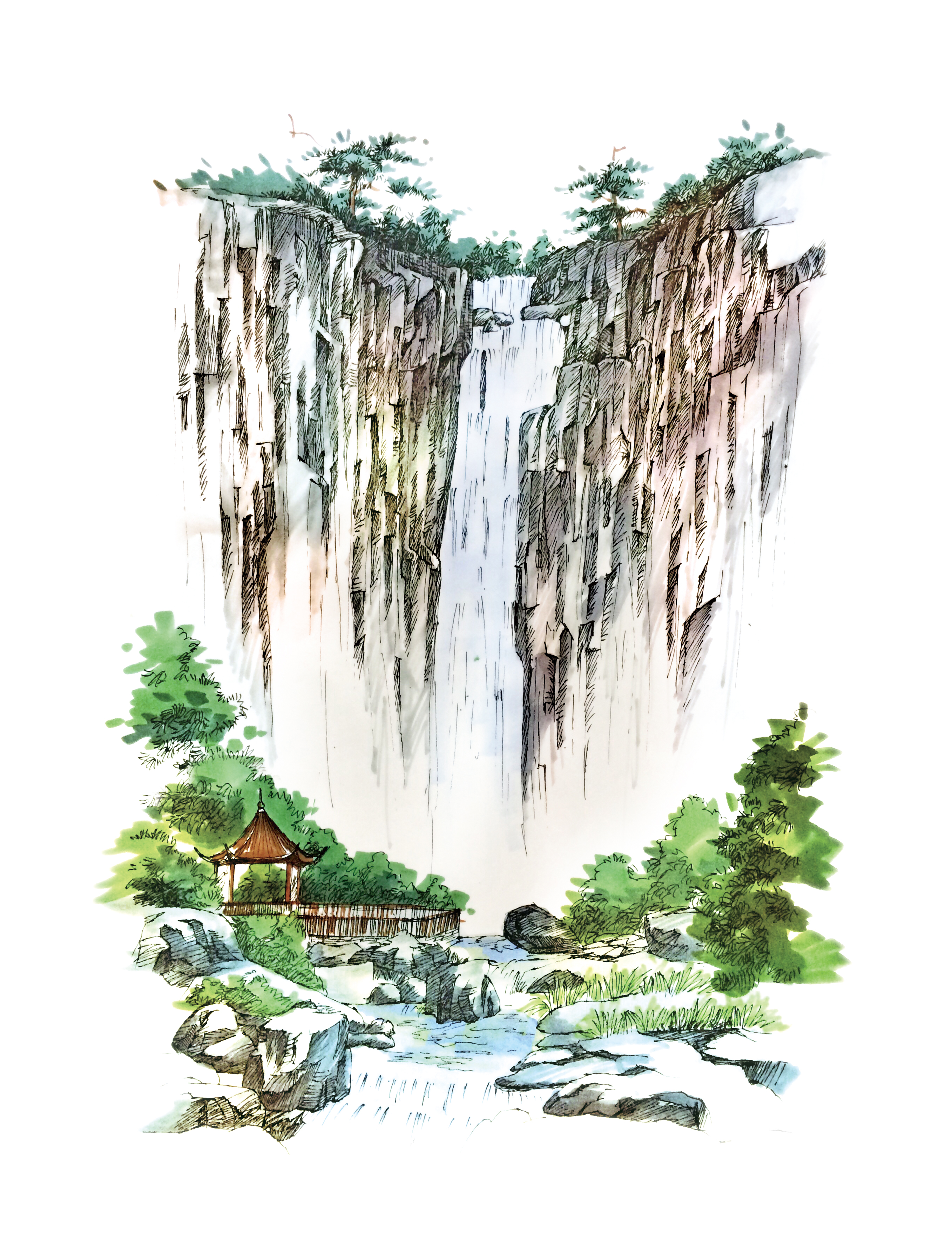 溪口风景插画