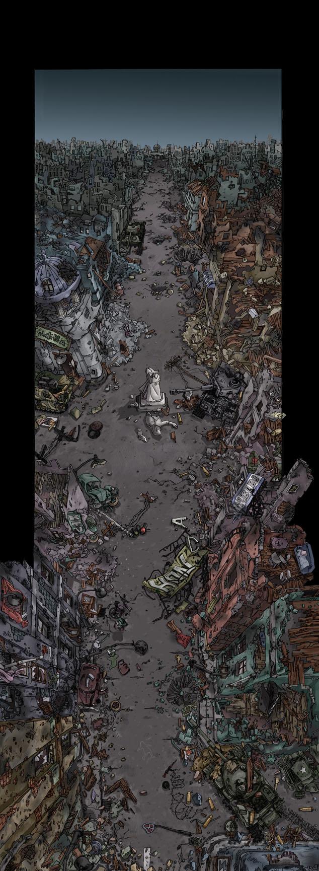 战争废墟场景-单幅漫画-动漫-设计作品-中国设计之窗