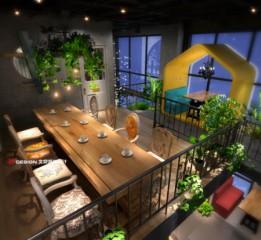 咖啡餐厅设计,湖南益阳摩天轮咖啡设计方案