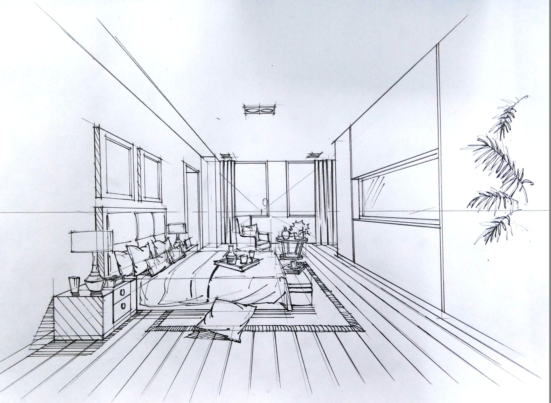 室内设计手绘卧室线稿
