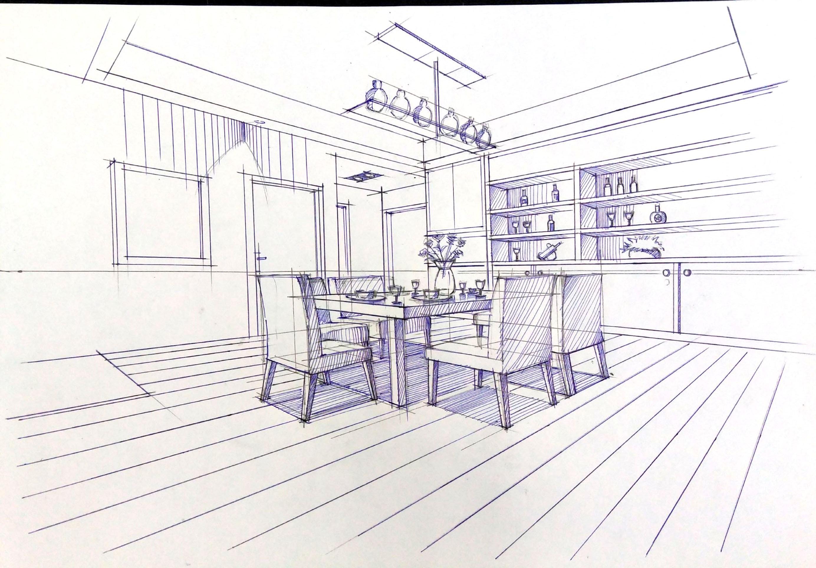 一叶手绘室内设计手绘线稿-室内设计-空间-设计作品