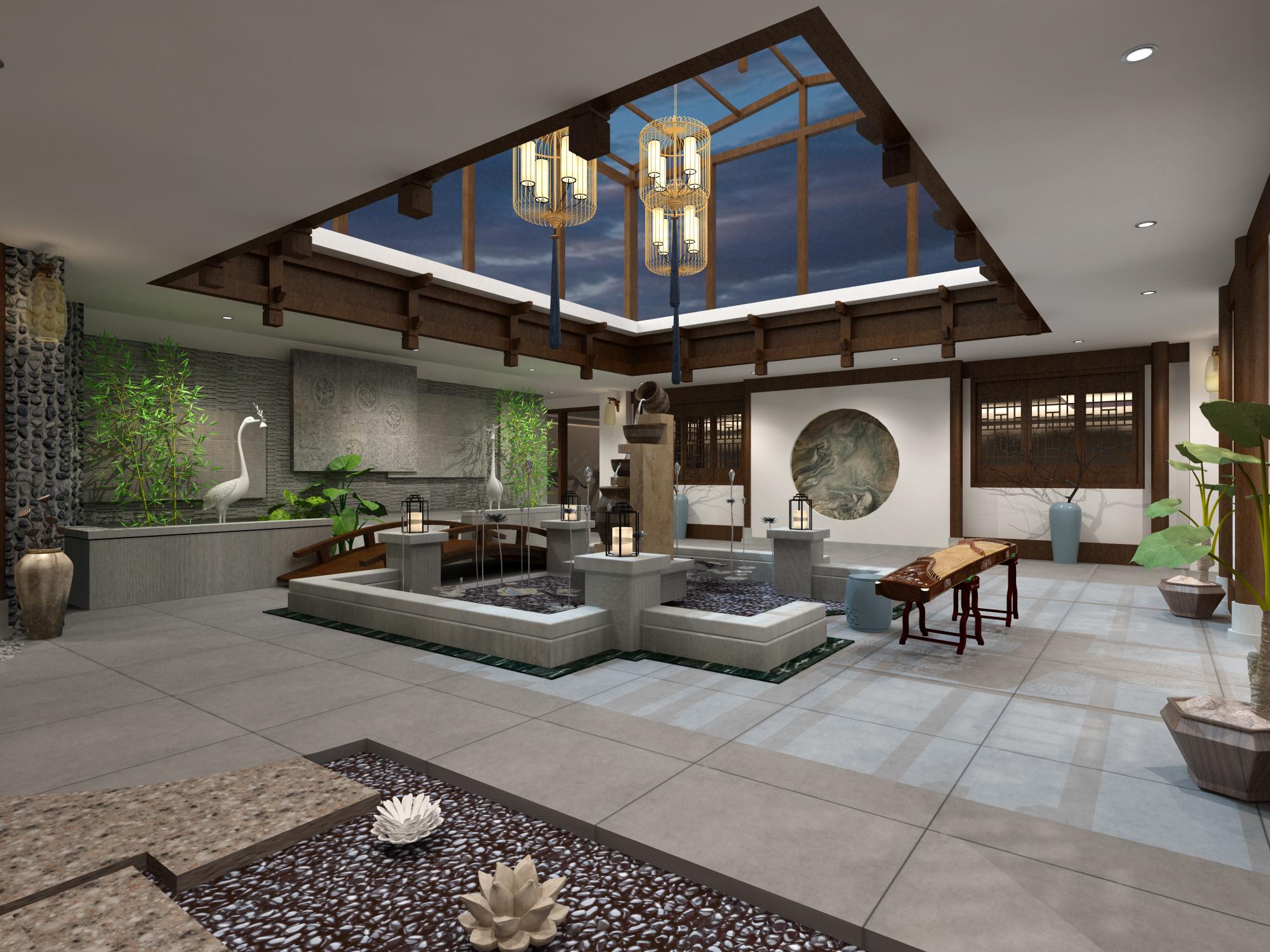 中式会所-室内设计-空间-设计作品-中国设计之窗