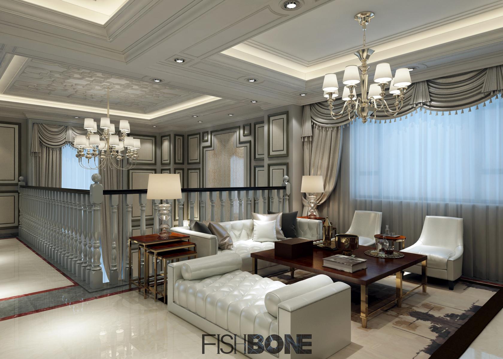 鱼骨设计-美式风格别墅样板房