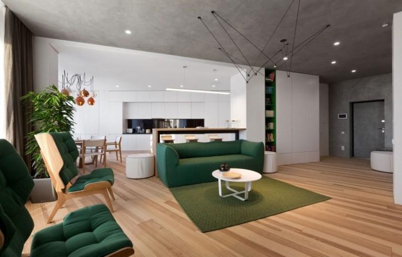 开放式的客厅,餐厅作为房间的核心社交区域,打造出一个色温对比很强图片