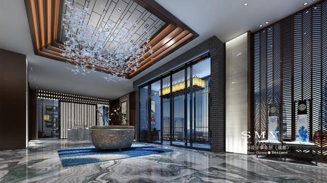 项目名称:念驴精品酒店装饰装修设计    设计单位:水木源创酒店设计事务所    项目面积:6000 m2    设计风格:中式禅意    念驴精品酒店的设计营造了一个大气、明朗,又富有古典元素的现代中式禅意空间。大厅青灰色的山水纹地面石材与墙面大面积的水墨山水画相呼应,引人感受生动磅礴的自然气韵。到顶的木屏风隔断与巨幅描写峨眉灵秀风光的书法相衬托,为整体设计添入历史文化的文豪气质。设计师将各种传统的纹样和材质与建筑简约流畅的形体相结合,既舍弃繁琐,又保留了复古的意境。除了自然纹路的石材,墙面还采用亚麻硬包、木材饰面等,以及将川西民居建筑外用的文化砖、青石砖、木屋檐转化为室内局部的装点,融古贯今,古为今用,达到丰富意境的目的。金属材质塑造的枯荷水景小品,又用现代的材质来表现传统意象,仿古拟古,又不失时尚艺术感。材质的萃取与形式的转换中,传统的设计语汇有了新的表达,历久弥新。