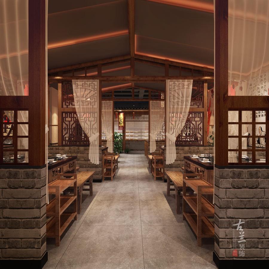 成都火锅店设计装修公司设计半开放式火锅店装修.