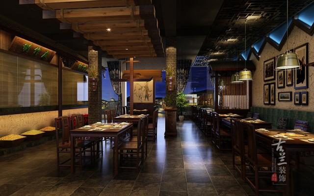 """设计说明:重点突出""""苗乡土牛""""----做贵州地方特色的民俗餐厅,结合贵州建筑、服饰艺术打造属于本土的民族特色的火锅中餐结合的民俗餐厅。"""