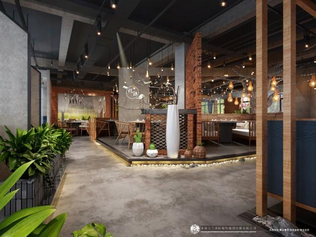 """设计说明:在项目开始之前设计方对项目当地周边火锅店进行了考察,发现在当地的火锅店基本上是以传统川西居民风格和当下比较流行的花园式火锅为主的,甲方也想把自己的火锅店做得更有特色,在当地具有一定的代表性,综合以上因素设计团队借鉴了当前在大城市生意比较好的一些火锅店风格对其进行适合的融合,创造出了属于""""悦辣""""品牌在南充独有的风格,庭院式的场景布置,传统的过道化作漫步其中的景观小道,原始的红砖水泥隔墙显得古朴自然,中间的镂空窗洞使起既能起到隔断的作用又能有通透借景的作用。餐桌的布置随性由合理的散布其中摆脱传统布局的古板,大面积的植物和摆景穿插其中给空间又带来一丝生机。"""