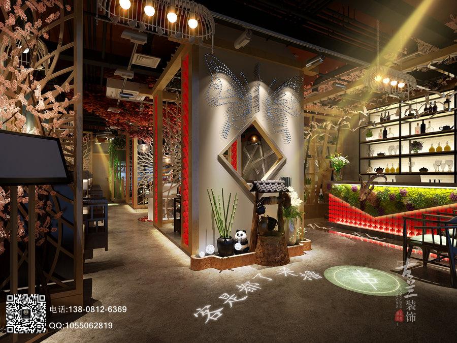 温州火锅店设计公司 牛华绿缘串串香火锅店装修效果图