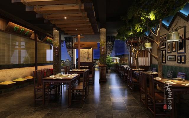 """设计说明:重点是突出""""苗乡土牛""""----做贵州地方特色的民俗餐厅,结合贵州建筑、服饰艺术打造属于本土的民族特色的火锅中餐结合的民俗餐厅。"""
