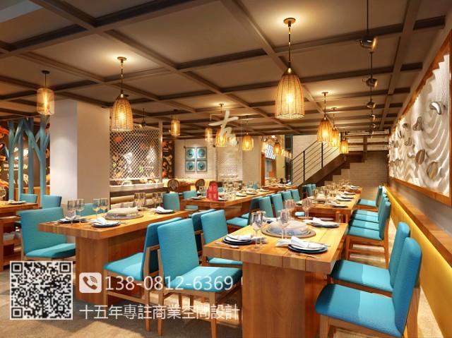 贵州海鲜餐厅设计装修公司|蓝贝蒸汽海鲜餐厅装修效果图