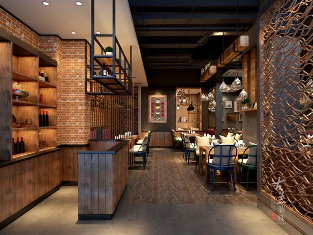 设计说明:根据项目自身情况,整体餐厅设计按LOFT工业风为主题背景,按五行元素相对呼应的材质加以利用融入富有肌理感的红砖文化石及水泥漆,让整个空间动线明确,且有景可拍,成为当地餐饮链中的一个不可复制版本。