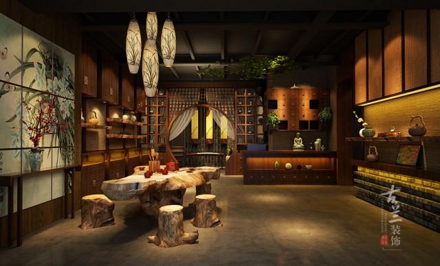 设计说明:静茶淡雅,君子淡泊,在喧闹的都市生活中忙碌奔波,静成为现代都市人的一种渴望与追求,这是本案的设计重点之一。这里静并不意味着寻求自身的安静,而是通过整个空间把茶和禅两种中国传统文化的有机结合。体现对佛家思想的认同,对自然的敬畏和和谐共生。