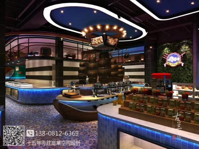 郑州海鲜餐厅设计装修公司|崇州大东海海鲜牛排餐厅装修效果图