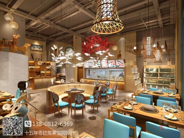 泉州海鲜餐厅设计装修公司-蓝贝蒸汽海鲜连锁餐厅设计图