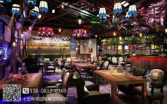 客户想要通过醒目的门头和灯光加上年轻化的装修风格吸引客户,经营上也有特色,晚餐时段以湖北菜为主,10点以后提供酒吧氛围销售酒水。在灯光上分两个氛围设计。结合工业风融入网红元素。两点是收银台背后的大樱花树。提升了整个空间的质感。