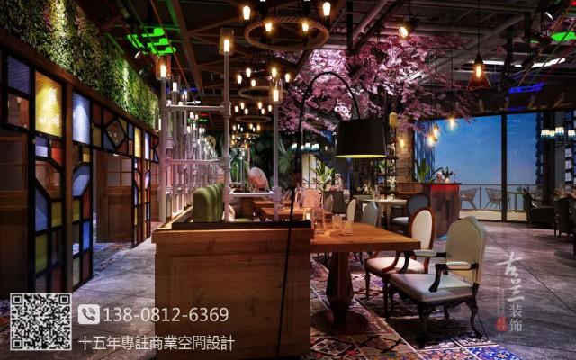 泉州主题餐厅设计公司-工业风主题音乐餐厅设计装修效果图