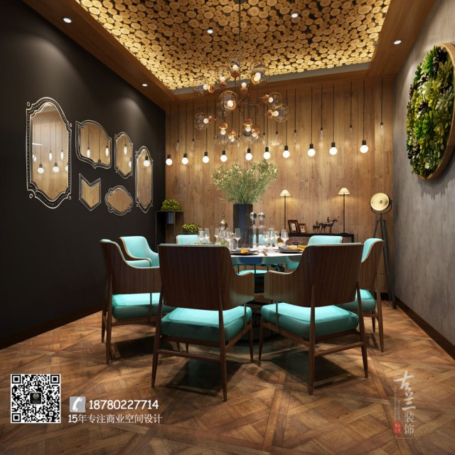 包间的墙壁上挂有植物框架,能够帮助顾客更好地将餐厅花园与街上的绿树联想在一起,增加葱郁的气氛。