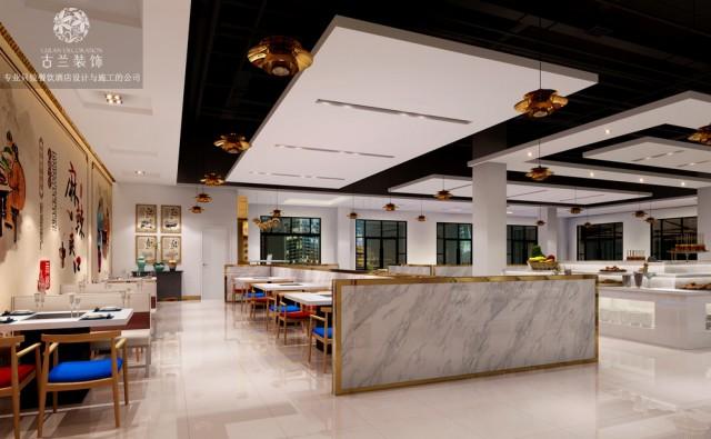 """设计说明:本案在功能分区上分为室内舒适区和室外休闲区。超大的中岛选菜区给客户选择更多的体验,完全的开放式厨房让客户可看清厨房操作,实现""""鲜货自助""""的新式味觉体验。室内布局上分为四人座,六人座,八人座,给予客人更多就餐的选择。外摆区给客户吃""""花园餐吧""""的时尚快感。在造型上弃用复杂繁复的各种造型,实现""""少即是多""""的设计目的,打造时尚的简约空间。同时在色彩搭配上主要运用干净清爽的白色搭配时尚前卫的金属质感的金色不锈钢装饰打造一个现代时尚的就餐环境。同时明快清爽的白色刚好呼应了本店""""干净""""""""鲜货""""""""新式自助""""的就餐主题。"""