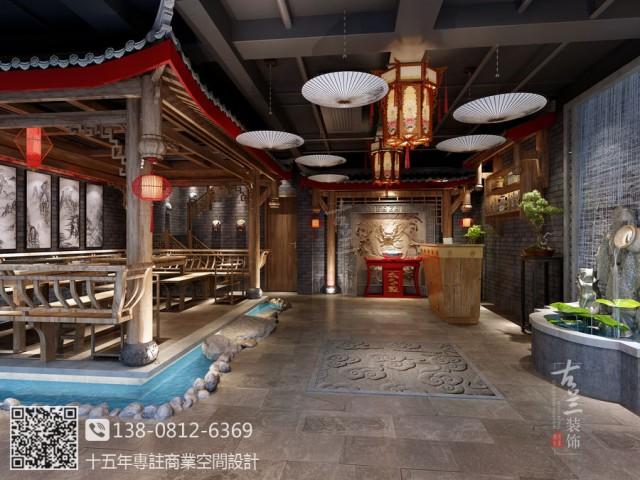 采用传统中式风格及布局,主要材料采用原木、斧剁石、青砖片等,着力打造一个原汁原味的传统中式火锅店。