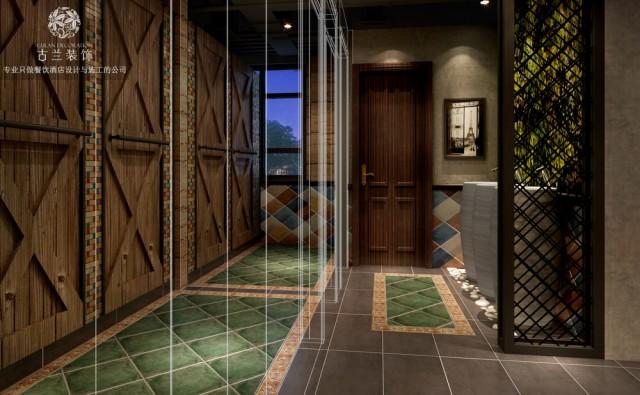 洗手间展现出一种古老质感,犹如置身在悠长的夜色之中。