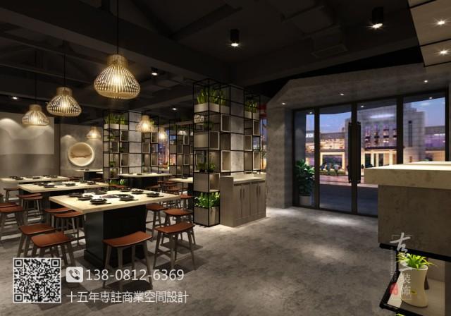 兰州专业餐厅设计装修公司-工业风清奢小肆烧烤店