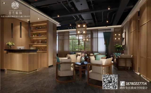 """在餐厅设计过程中我们考虑了以""""晓看红湿处,花  重锦官城""""为主题的元素,芙蓉花、川西民居、通过新的设计手法在硬装和软装中表现出来。"""