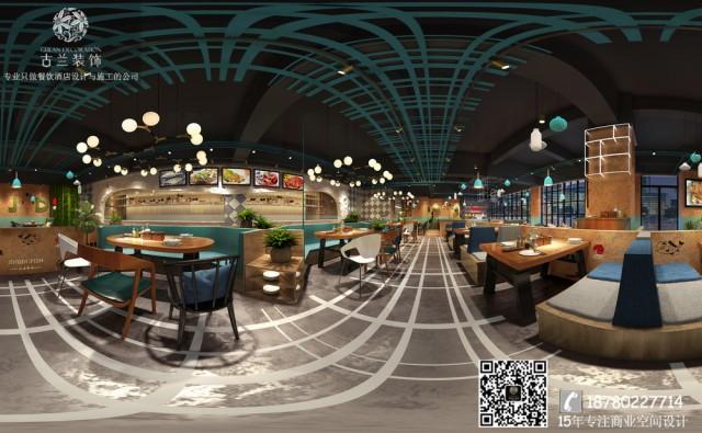 烤鱼店设计利用新型的表达方式  :色系表达和线条表达。整个空间退却了很多餐厅的浮华繁琐的装饰和花花草草的装扮。