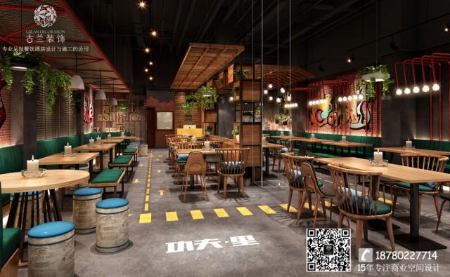 广安功夫里烧烤餐厅整体设计以温馨个性调为主,中性色家具分布空间内,让空间变得沉稳,绿植点缀空间增加空间的生机感,材质多用质感一流的哑光材质让空间整体感觉低调内敛。