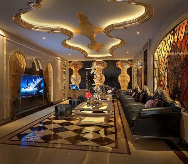 酒吧设计主要是以欧式金色线条与现代材料接合体现的主导元素,参杂一些波西米亚的风格元素在里面,独特的摆件吊灯等使整个空间别具一番趣味性,色调的暖色和彩色的鲜明对比使慢摇吧的特质充分体现。