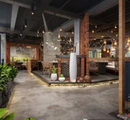 安康园林式火锅店设计装修公司之悦辣