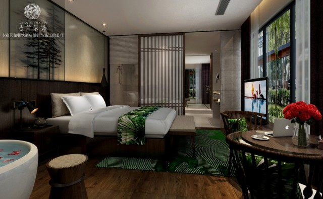 设计说明:昆明航城国际花园酒店作为古兰装饰公司在昆明的代表作品,其酒店的度假性及精品属性在设计团队的深挖细掘中表现的淋漓尽致,酒店超具视野感的客房和超大花园都让该酒店项目在区域范围内众多酒店中脱颖而出,成为该区域范围内极具竞争力的精品度假酒店,在该度假酒店设计时,古兰装饰公司将昆明当地的文化元素和生活美学融合在一起,让酒店具备舒适感的同时,也让酒店拥有属于酒店本身的气质。