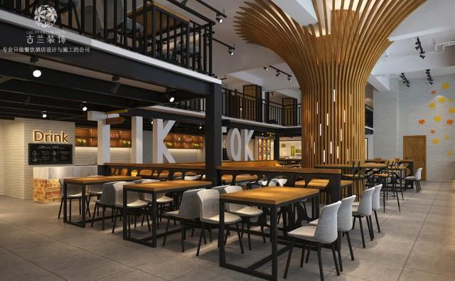 设计说明:本案定位为快餐厅,饭点卖快餐,平时出售饮品,所以整体是有休闲氛围在里面。整体造价都不高,采用了黑白  灰+原木的色彩搭配,整体是营造一种简洁、时尚、生态的氛围。1楼到2楼的楼梯处,用了永生苔藓作为植物墙,寓意是踏着  有苔藓的梯步,来享受美食。中央的柱子,用的是木纹铝方通包的,一种抽象性的树,寓意是在树下很悠闲的享受美味。