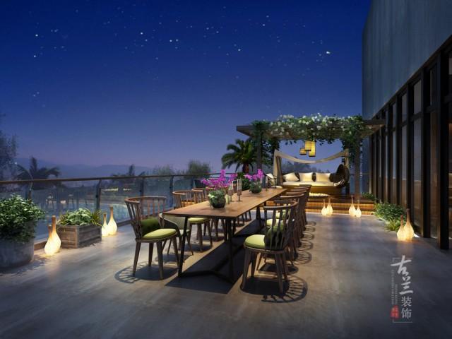 设计说明:66号花园餐厅位于邛崃高新区十方国际原售楼部。将售楼部改造成集餐饮、休闲、下午茶、酒吧、棋牌为一体的休闲餐饮空间,设计理念来源于台湾的民俗文化,主色调以原木为主,搭配灰白色水泥涂料,点缀民俗特色的藤编、竹文化元素,打造归隐山林、放空心灵的一种体验式餐饮休闲空间。
