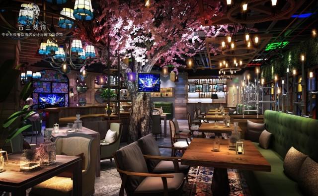 设计说明:客户想要通过醒目的门头和灯光加上年轻化的装修风格来吸引客户,经营上也有特色,晚餐时段是以湖北菜为主,10点以后提供酒吧氛围销售酒水。在灯光上分两个氛围设计,结合工业风融入网红元素。两点是收银台背后的大樱花树,提升了整体空间的质感。