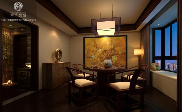 设计说明:本案设计的是居民区的私房菜餐厅,空间主要运营的是吃饭,其次是喝茶、聊天、看书,整个设计是新中式的风格,硬装主要体现新中式的感觉,软装带点苏式元素,另外有两个包间的空间用的是田园风格和东南亚混搭风格。在新中式的格调中又别有一番不同的滋味,设计的元素是采用苏式细小的元素,苏绣的软装搭配起来,地面用的是仿实木地板的瓷砖,隔断基本采用精细的木线条,苏式的特性点缀得淋漓尽致,空间整体是打的氛围灯光,凸显空间的悠闲自在,慢节奏的生活情调。