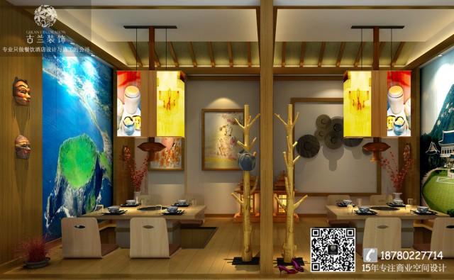 空间在材料使用方面主要运用了原木为主的自然材质,并利用最为原始的搭建手法製造出丰富的空间效果。