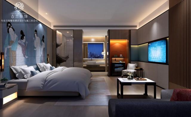 在房间配上缩小版的景观,让客人身心能够完全放松,在此完全没有压力。设计师将仕女图作为整个床头背景墙,床上使用柱状颈椎理疗枕芯,很符合现在人们对健康的追求。