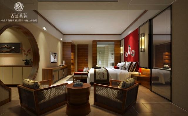 房间将轻装修,重装饰的手法融入到新中式风格当中去,大量的通过灯光营造氛围。柔和而静谧的状态下能让人最大程度的放松!