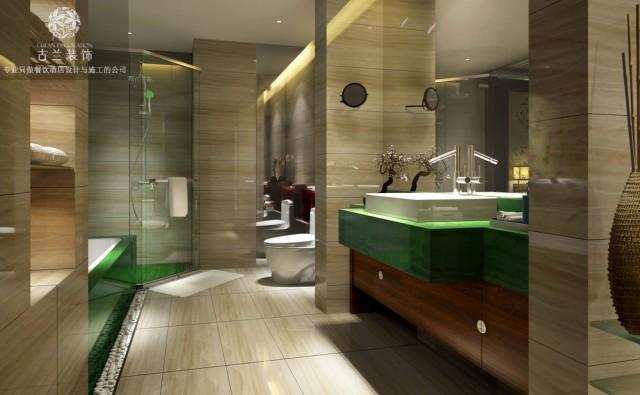 酒店的卫生间营造出宛如中世纪的氛围,在自然光线的照射下,透过玻璃幕墙,让梳洗变得也充满趣味性。