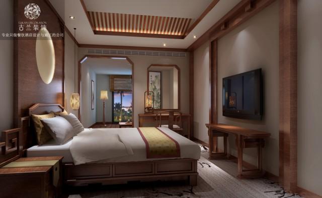 在空间布局方面,合理规划了各种房型的位置,在使客人感受到酒店文化底蕴的同时也能很方便的使用酒店的各个功能,体现出酒店一种无微不至的关怀,一种精致生活的理念。在材质使用方面,顶面石膏板造型与墙绘的结合使用,让整个空间的主题更加鲜明,竹材的使用显示了蜀韵文化的精髓,而房间内地毯的使用又是一个亮点,在展现房间主题的同时也能很好的消音,对于喜静的客人来说是一个福音。
