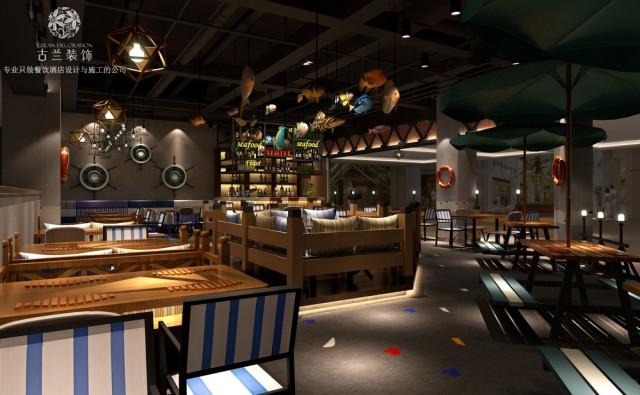 枣庄专业餐厅设计公司哪家好-渔岛烤鱼主题餐厅装修效果图