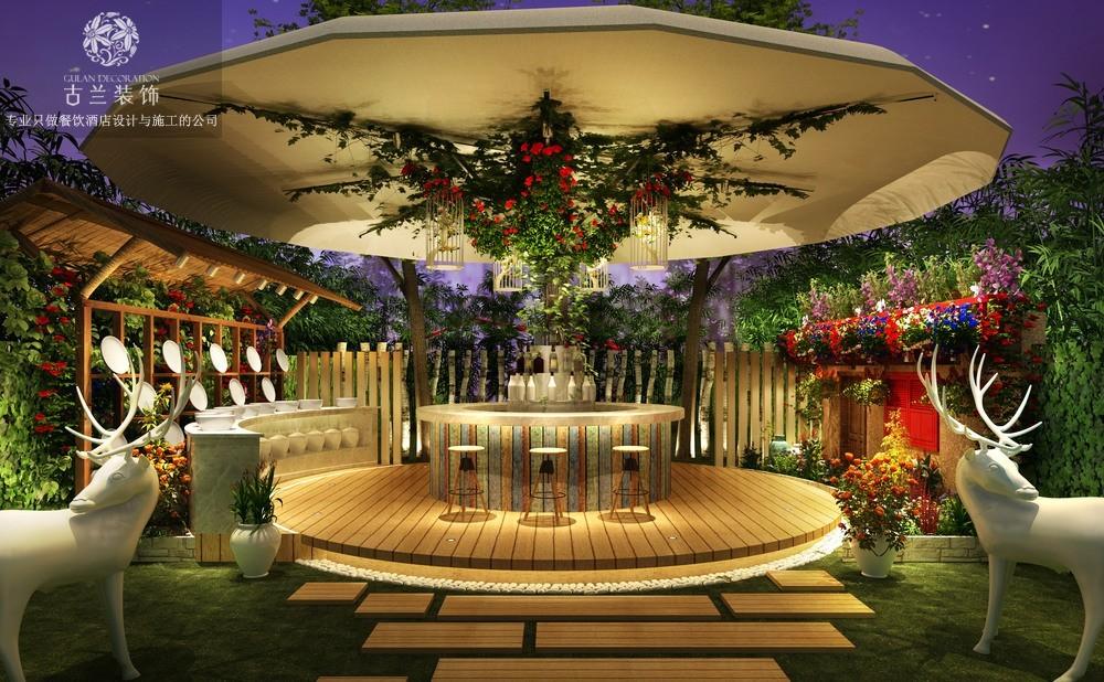 龙泉潮汕牛肉花园餐厅 成都花园餐厅设计公司