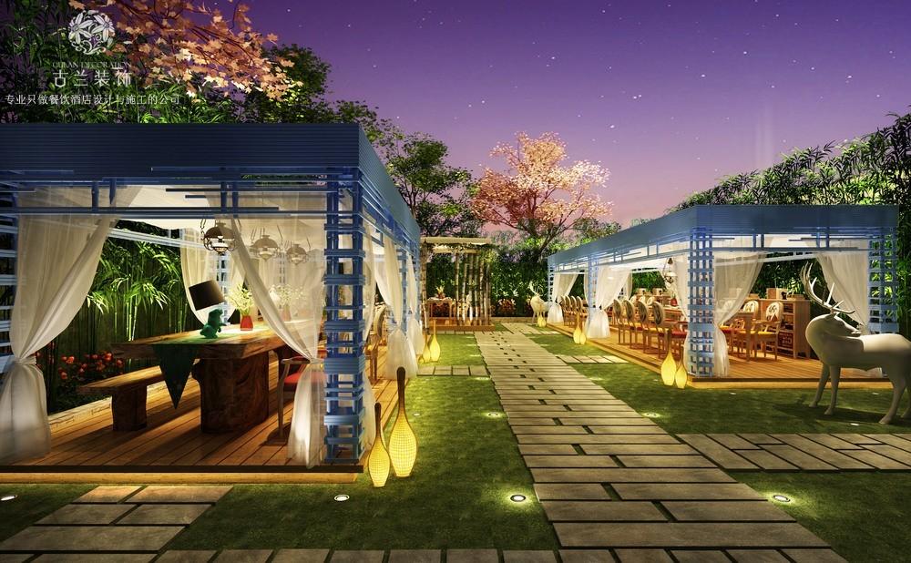 成都专业花园餐厅装修案例-龙泉潮汕牛肉设计-成都餐厅设计公司