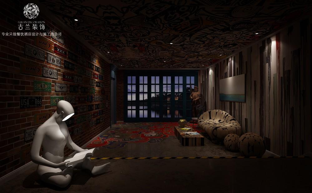 设计说明:现在,大家都在追求生活方式,遇尚艺术主题酒店将生活方式与艺术相结合,古兰装饰设计师运用用户体验的互联网思维设计手法,将平凡的材料打造出不平凡的酒店。酒店外观极具昭示感,从远处都能感受酒店的艺术性质。酒店大厅虽简单,但并不缺乏艺术感,艺术的灯带设计也能有代替照明的效果,营造出不同的氛围效果。开放式的社交体验,在这里都能感受,浓厚而大胆的色彩,独特的自由艺术感,设计师将这里打造出一个充满活力的空间。等电梯本是一件无聊的事,设计师将一个小型的艺术空间搬入酒店前厅,让客人在等待的时候也能有放松的空间,降低的客人的等待感受。这里既是酒店客房的过道,也是酒店的艺术走廊,设计师将功能与艺术相结合,在过道空间展现出整个酒店的气质。卫生间也是酒店档次的一个体现,具有艺术性质的眼镜状镜面,让卫生间的档次瞬间提升。酒店设计多种艺术主题房间,为客户提供多种的选择,让客人在不同的房间能有不同的感受。