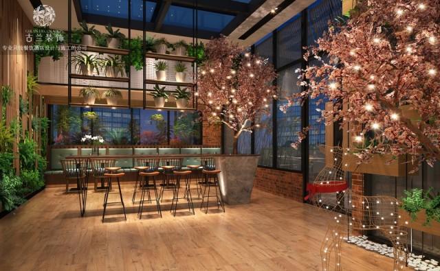 设计说明:木艺是本案浓墨重彩的一笔,其颜色温馨柔和,既有清新文艺气息,还非常的耐用,它化身为空间里的餐座、陈列架、地板,让空间有种古色古香的质感……同时与做旧有锈迹的铁架网隔断形成鲜明对比,并一起用坚固特性为整个空间定型,而相映成趣的绿植和花艺则负责解构这种自带的厚重感,为空间注入活力和生机,软化氛围。作为调节气氛的有力担当,吊灯和射灯是本案主要运用的灯具。