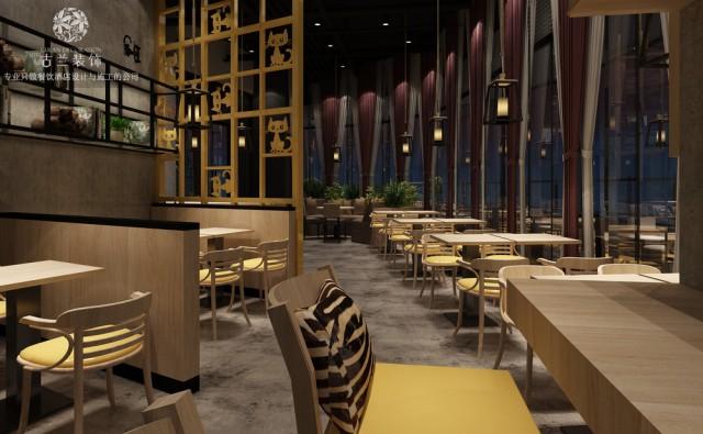 设计说明:芭西里风味餐厅主要经营西式快餐简餐为主,咖啡下午茶为辅。店家想要打造一个有特色,且有趣味性的用餐氛围。设计风格以馋嘴猫为主题,色彩选用灰色搭配浅木纹色,黄色的店招背景增加很强的视觉冲击效果,室内点缀黄色软包座位,跟室外相呼应,馋嘴猫贯穿整个始终。